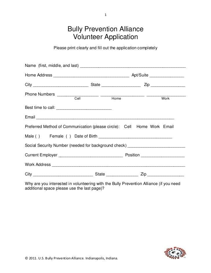 Bully  Prevention  Alliance  Volunteer  Application