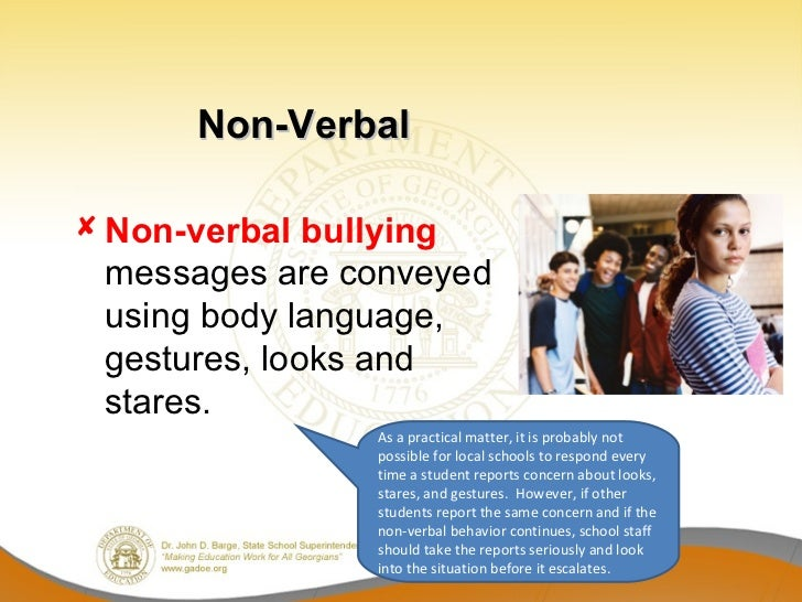non verbal Just as verbal language is broken up into various categories, there are also different types of nonverbal communication as we learn about each type of nonverbal signal, keep in mind that nonverbals often work in concert with each other, combining to repeat, modify, or contradict the verbal message being sent.