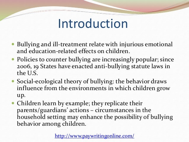 Essay about bullying introduction