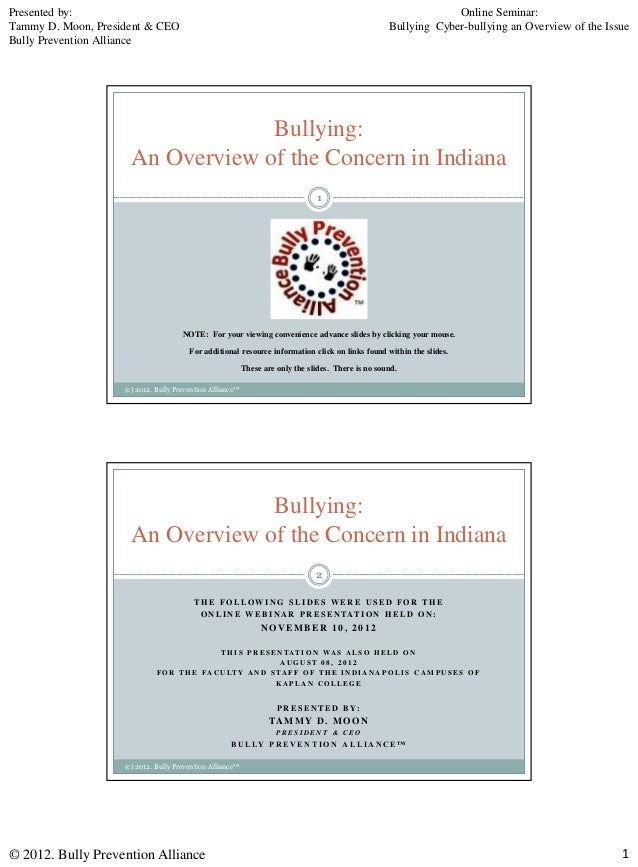 Bullying an overview of the concern in indiana - Presented By - Tammy D. Moon