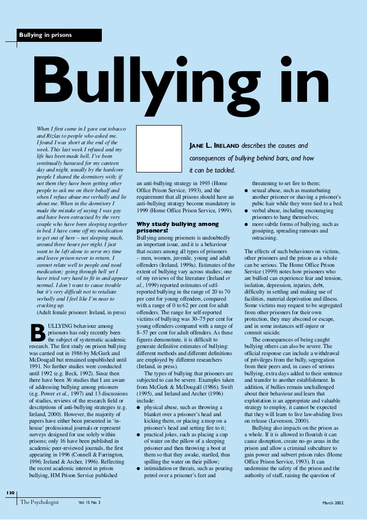 Bullying in prisons         Bullying in            When I first came in I gave out tobacco            and Rizlas to people...