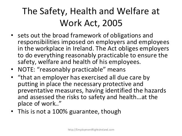 employee safety health and welfare law Employers must ensure the safety and health of workers in the workplace  the  minister of health, labour and welfare can instruct such companies to prepare.