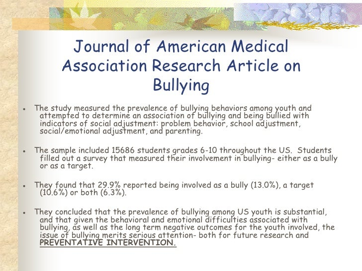 Magazine article on bullying