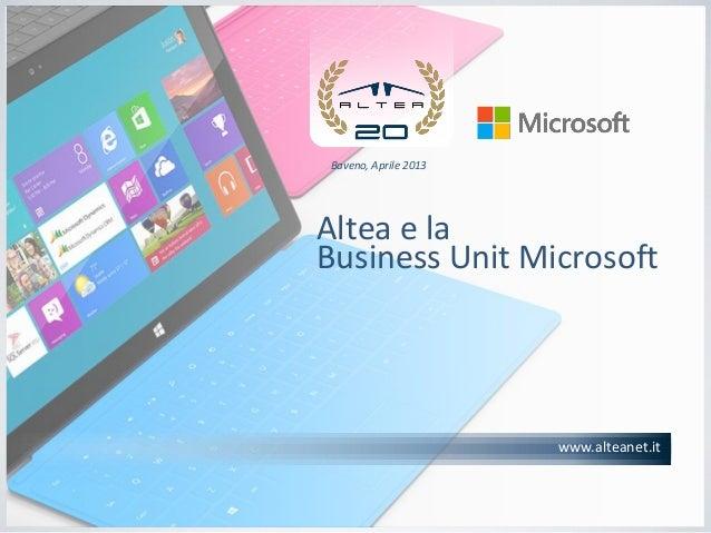 Altea, Presentazione Business Unit Microsoft