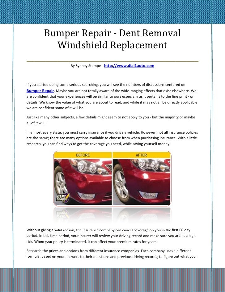 Bumper Repair - Dent Removal        Windshield Replacement_____________________________________________                   ...