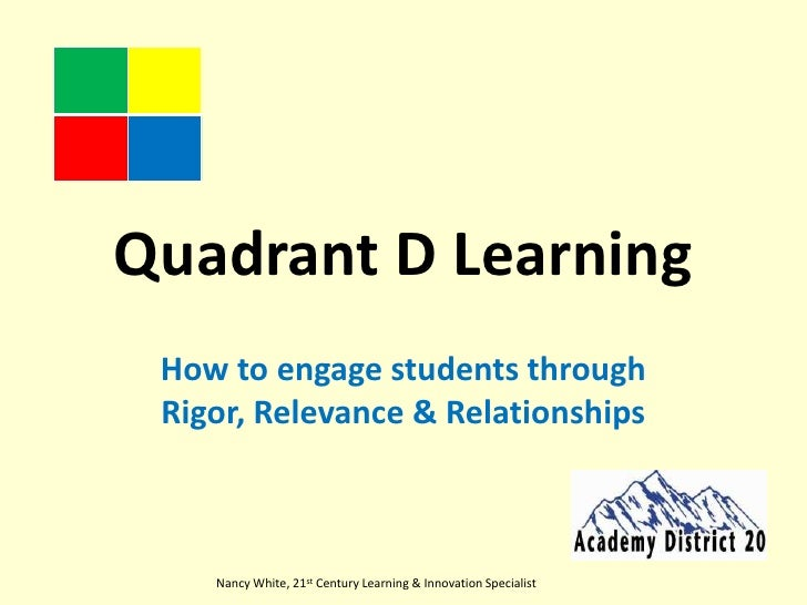 Quadrant D Learning<br />How to engage students through Rigor, Relevance & Relationships<br />Nancy White, 21st Century Le...