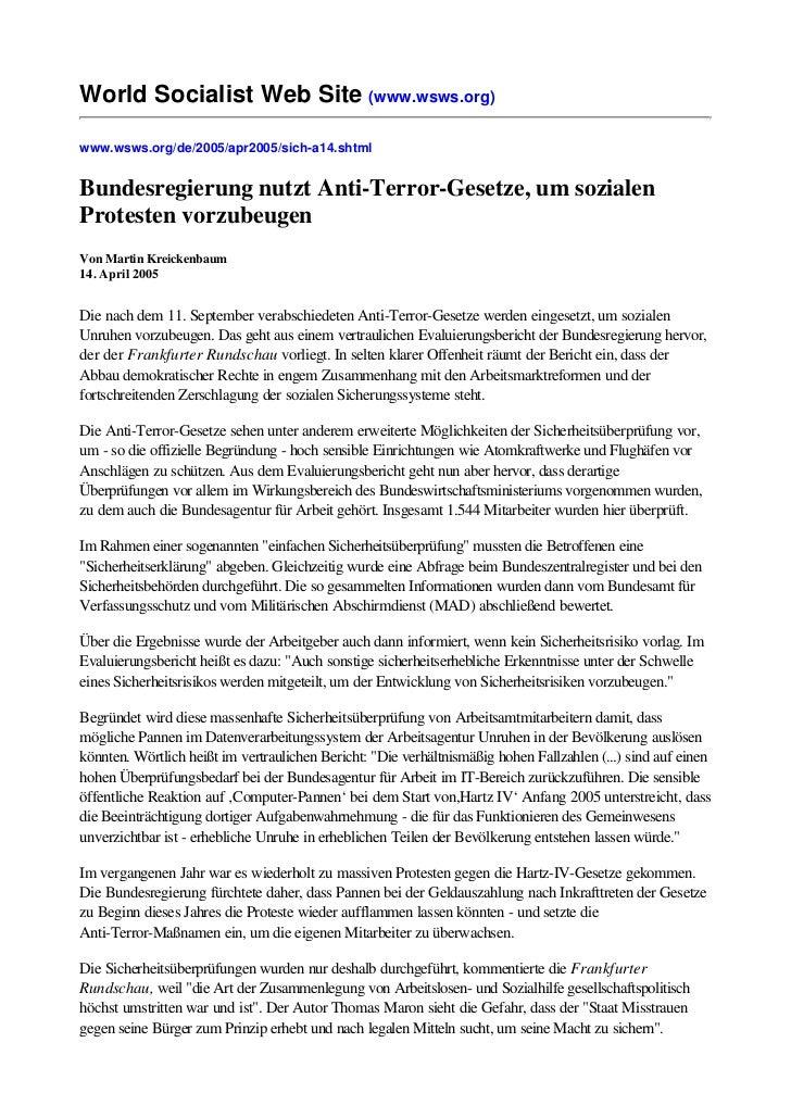 World Socialist Web Site (www.wsws.org)www.wsws.org/de/2005/apr2005/sich-a14.shtmlBundesregierung nutzt Anti-Terror-Gesetz...