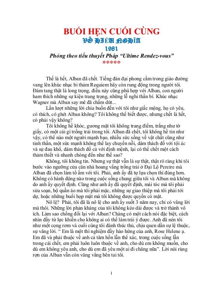 BUỔI HẸN CUỐI CÙNG                         VÕ HIẾU NGHĨA                              1981        Phỏng theo tiểu thuyết P...