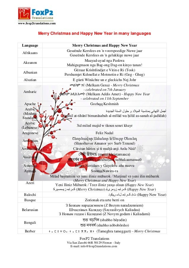 www.foxp2translations.com  Merry Christmas and Happy New Year in many languages Language Afrikaans Akeanon Albanian Alsati...