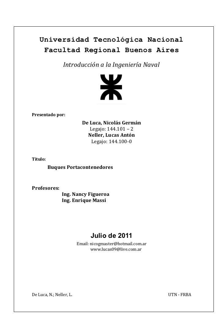 Universidad Tecnológica Nacional     Facultad Regional Buenos Aires                 Introducción a la Ingeniería NavalPres...