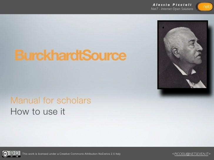 Burckhardtsource.org: manual for scholars