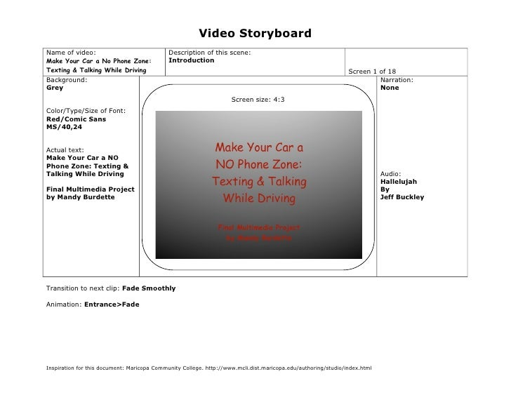Video Storyboard Name of video:                               Description of this scene: Make Your Car a No Phone Zone:   ...