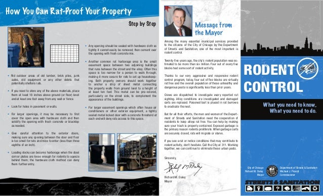 RODENT CONTROL What you need to know, What you need to do. City of Chicago Richard M. Daley Mayor Department of Streets & ...