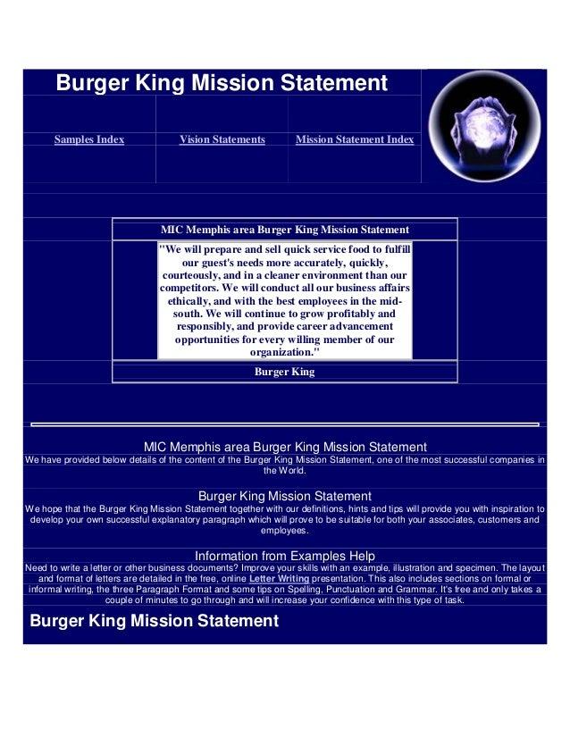 Burger King Mission Statement       Samples Index                  Vision Statements            Mission Statement Index   ...