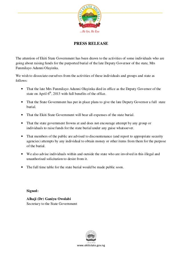 Press Release: Illegal Fundraising For Olayinka's Burial