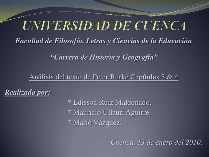 """UNIVERSIDAD DE CUENCA<br />Facultad de Filosofía, Letras y Ciencias de la Educación<br />""""Carrera de Historia y Geografía""""..."""