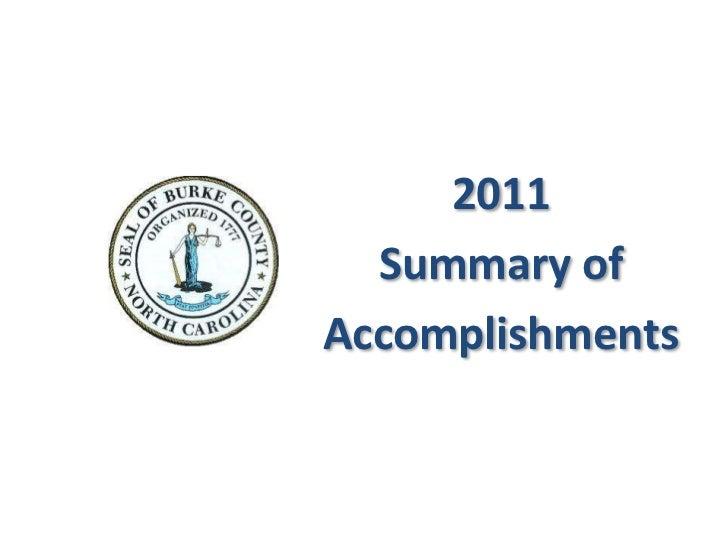 2011  Summary ofAccomplishments