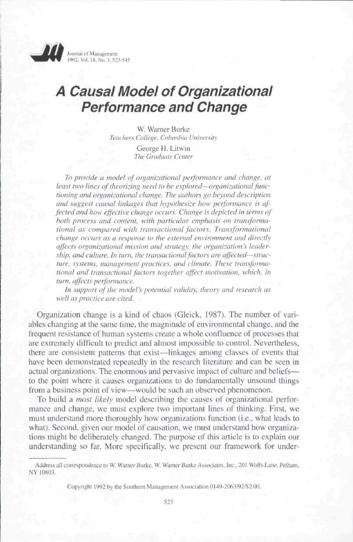 A Causal Model of Organizational Performance and Change
