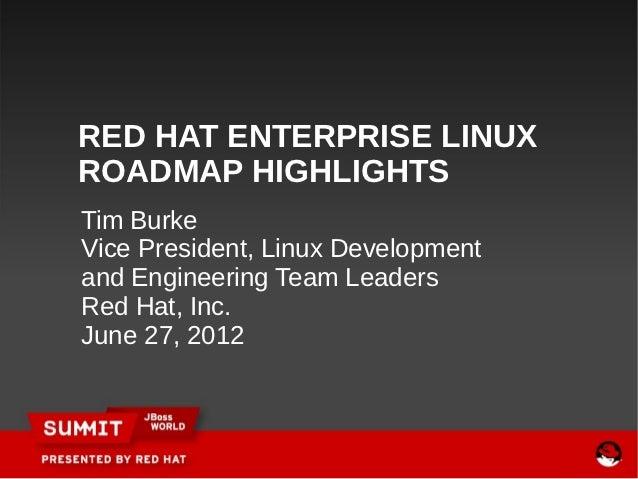 RED HAT ENTERPRISE LINUXROADMAP HIGHLIGHTSTim BurkeVice President, Linux Developmentand Engineering Team LeadersRed Hat, I...