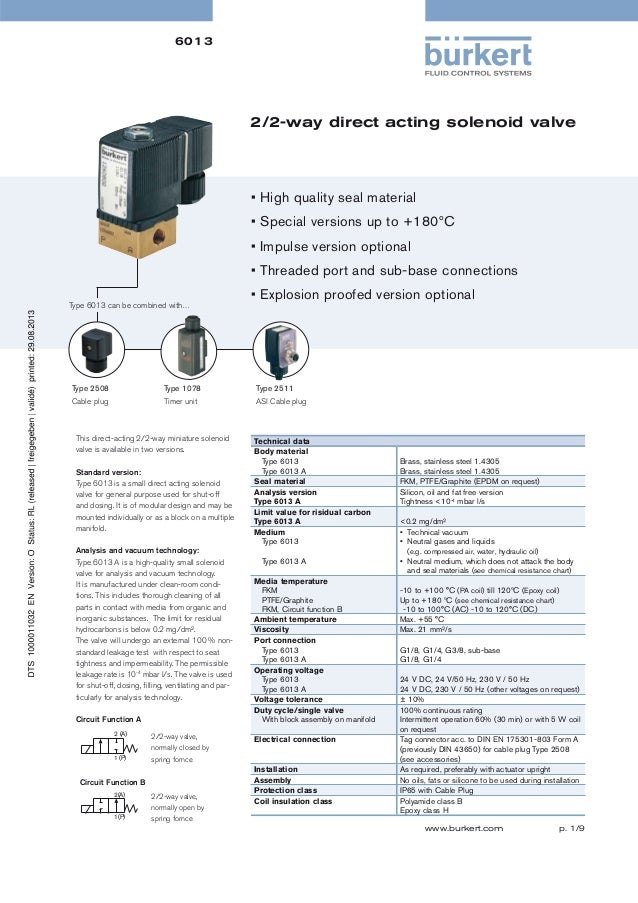 6013  2/2-way direct acting solenoid valve  • High quality seal material • Special versions up to +180ºC • Impulse version...