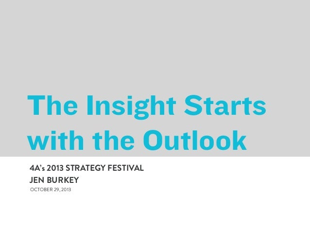 The Insight Starts with the Outlook 4A's 2013 STRATEGY FESTIVAL JEN BURKEY OCTOBER 29, 2013