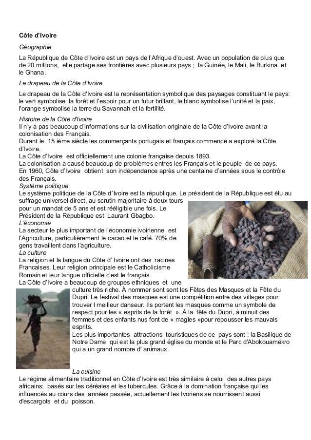 Côted'Ivoire Géographie LaRépubliquedeCôted'Ivoireestunpaysdel'Afriqued'ouest.Avecunpopulationdeplusq...