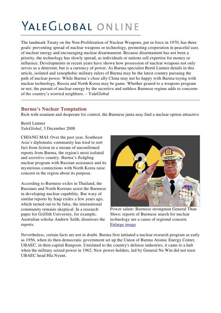 Burmas Nuclear Temptation   3 Dec08