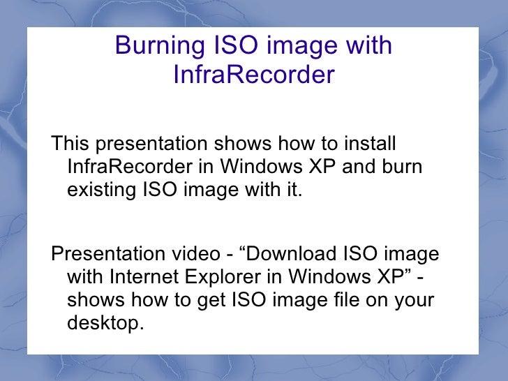 Burning ISO image with InfraRecorder