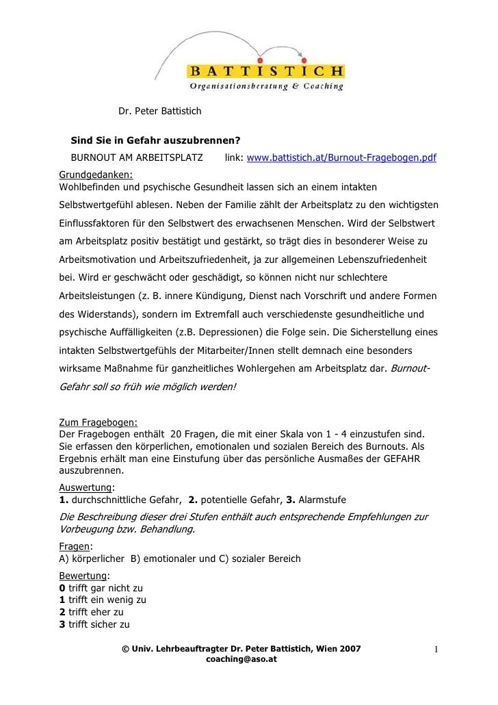 Dr. Peter Battistich    Sind Sie in Gefahr auszubrennen?   BURNOUT AM ARBEITSPLATZ              link: www.battistich.at/Bu...