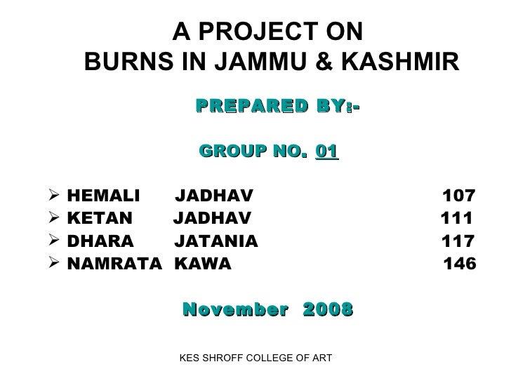 A PROJECT ON  BURNS IN JAMMU & KASHMIR   <ul><li>PREPARED BY:- </li></ul><ul><li>GROUP NO .  01 </li></ul><ul><li>HEMALI  ...