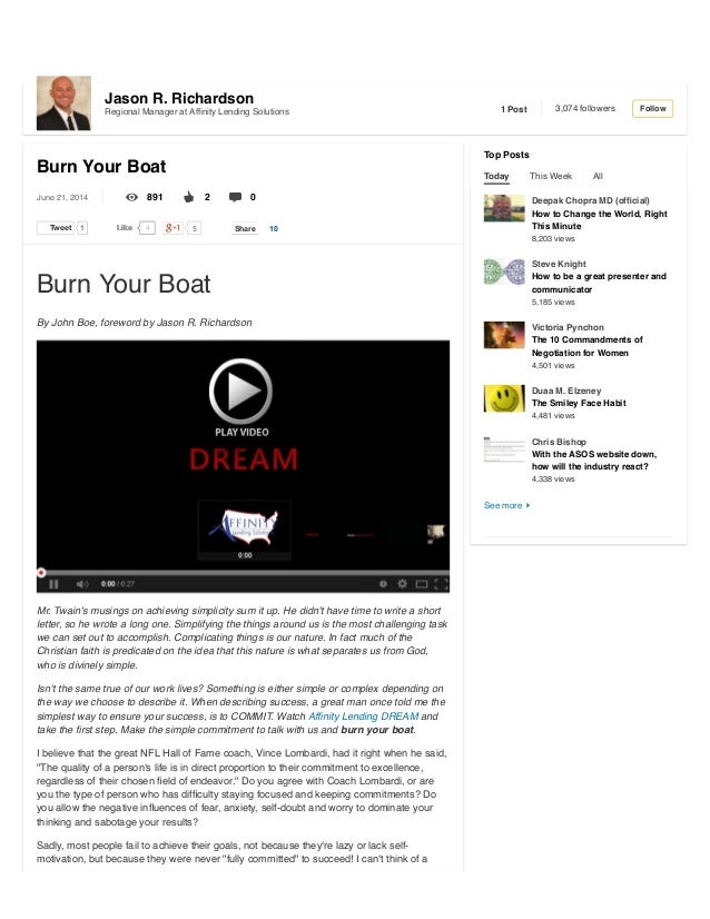 Burn Your Boat | linked in