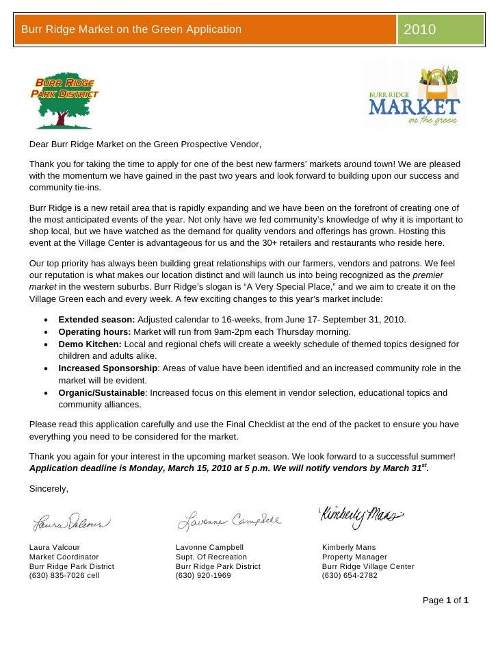 Burr Ridge Market Application Packet 2010 V4