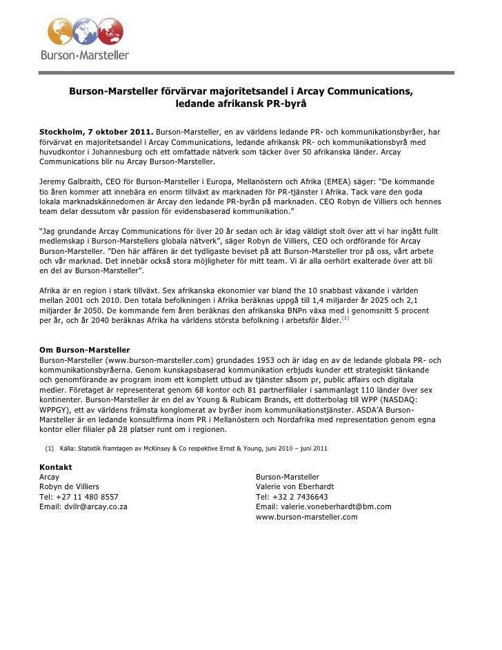 Burson-Marsteller förvärvar majoritetsandel i Arcay Communications,                              ledande afrikansk PR-byrå...