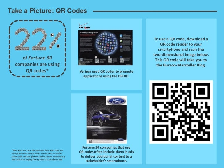 Take a Picture: QR Codes                                                                                             To us...