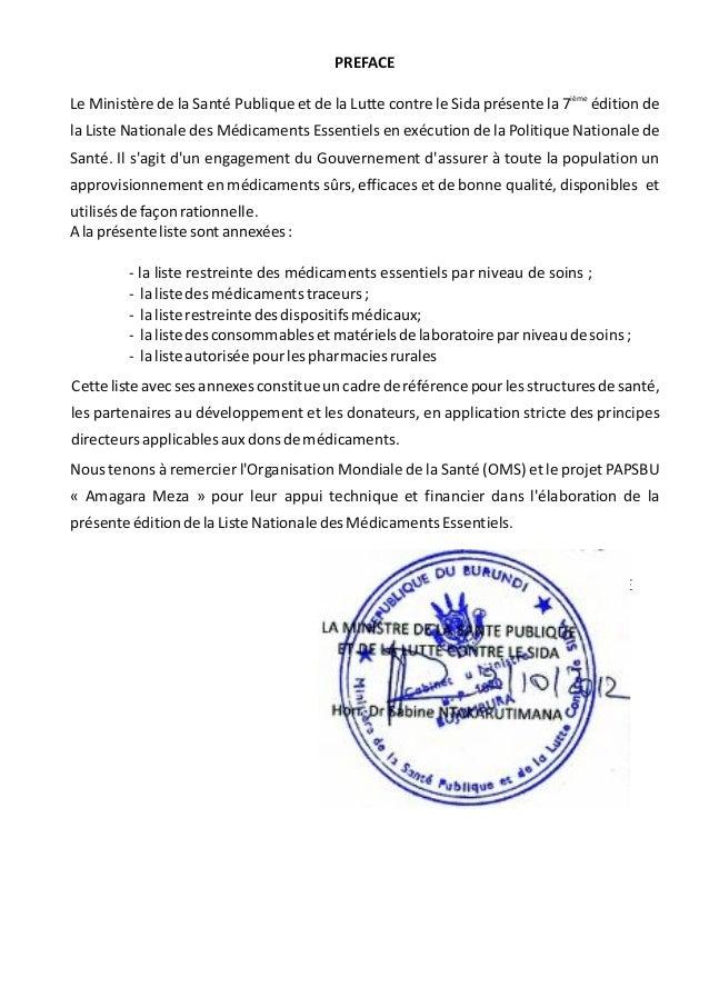 PREFACE ième Le Ministère de la Santé Publique et de la Lutte contre le Sida présente la 7 édition de la Liste Nationale d...
