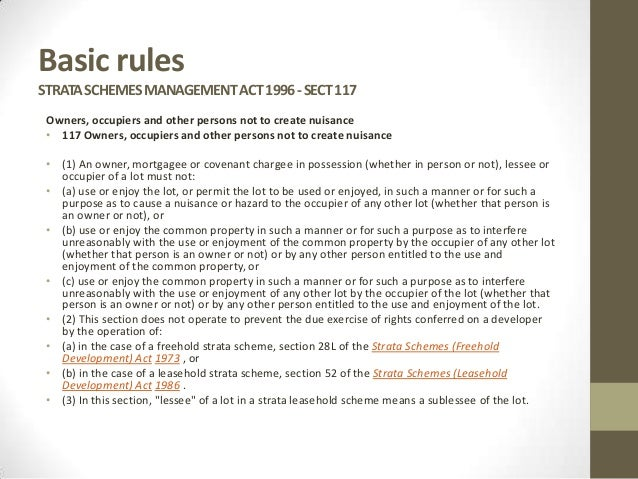 Common Property Rules Nsw
