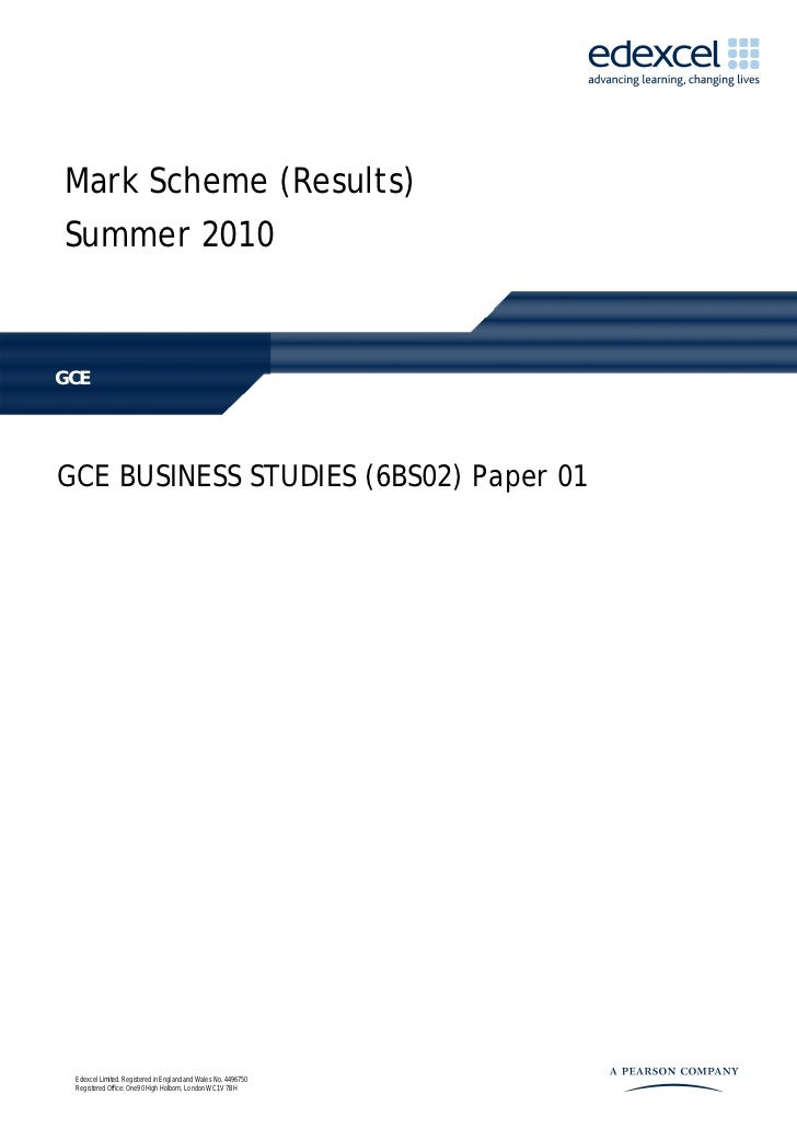 Business Studies Unit 2 Jun 10 - Mark Scheme