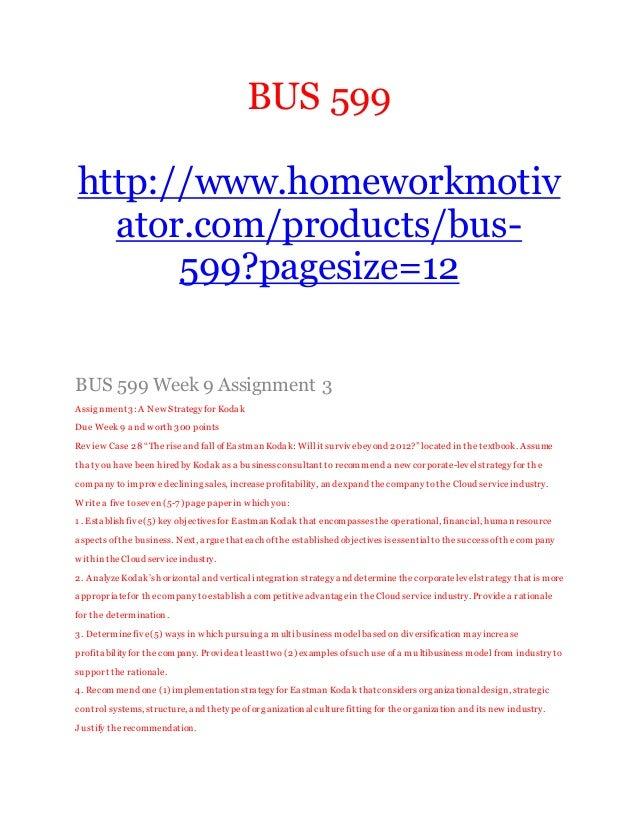 BUS 599 Week 1 Quiz