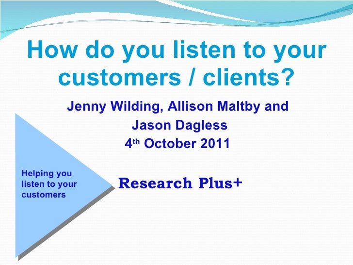 How do you listen to your customers? Norwich Business Club October 2011.