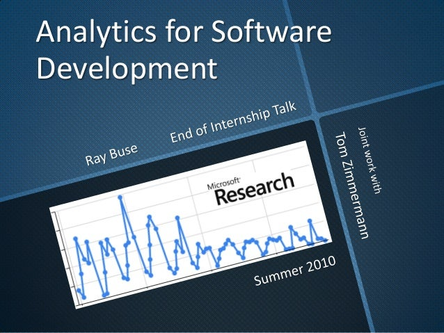 Analytics for Software Development