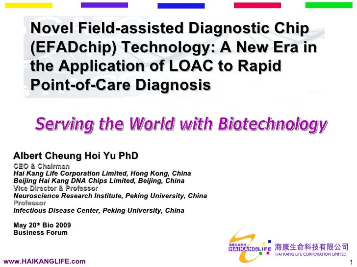 Novel Field-assisted Diagnostic Chip       (EFADchip) Technology: A New Era in       the Application of LOAC to Rapid     ...