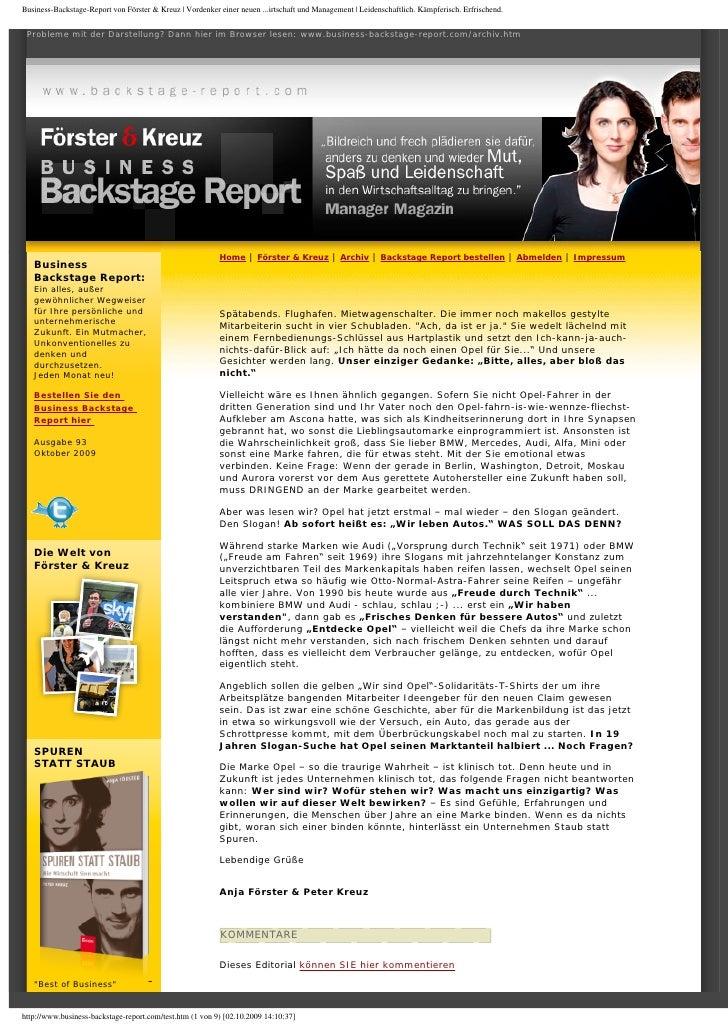 Foerster & Kreuz | Business-Backstage-Report | Inhalt statt Kosmetik, Oktober 2009