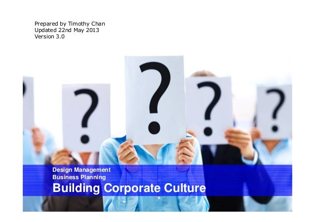 Design ManagementBusiness PlanningBuilding Corporate CulturePrepared by Timothy ChanUpdated 22nd May 2013Version 3.0