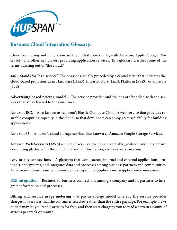 Business Cloud Integration Glossary
