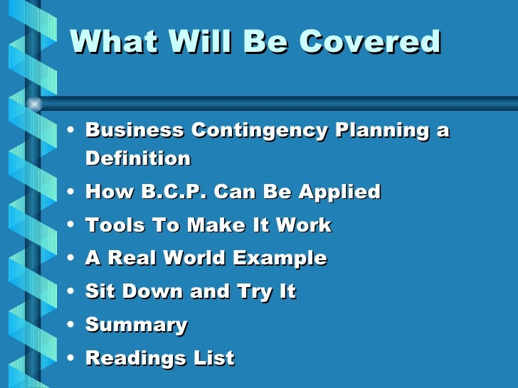 Small business contingency plan