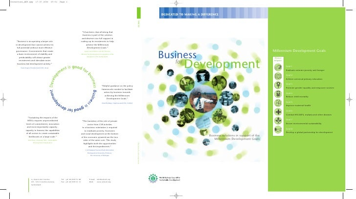 Business      Development    for                Business solutions in support of the               Millennium Development ...