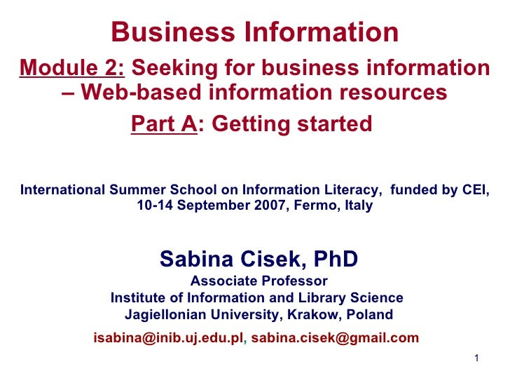Business Information module2: getting started