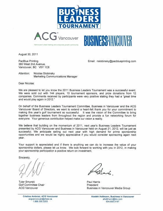 Business Leaders Golf Tournament Thank You Letter to PacBlue Printing