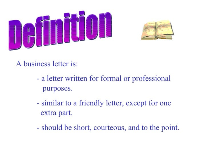 Business letter for What is the meaning of a cover letter