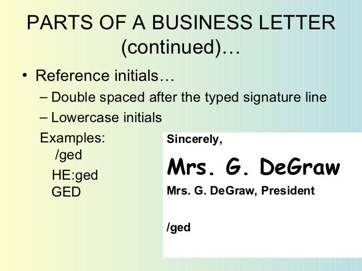 Example Of Reference Initials In Business Letter